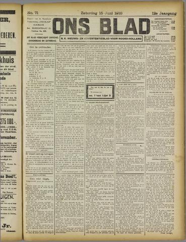Ons Blad : katholiek nieuwsblad voor N-H 1918-06-15