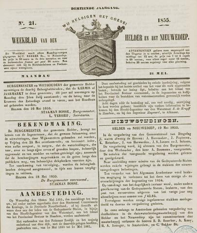 Weekblad van Den Helder en het Nieuwediep 1855-05-21