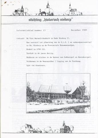 Informatieblad stichting Historisch Niedorp 1989-12-01