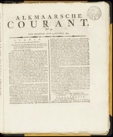Alkmaarsche Courant 1814-10-24