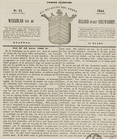 Weekblad van Den Helder en het Nieuwediep 1844-03-11