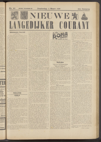 Nieuwe Langedijker Courant 1926-03-11