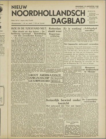 Nieuw Noordhollandsch Dagblad : voor Alkmaar en omgeving 1945-08-13