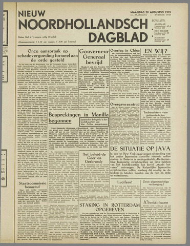Nieuw Noordhollandsch Dagblad : voor Alkmaar en omgeving 1945-08-20