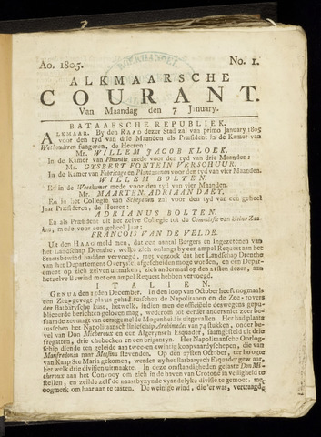 Alkmaarsche Courant 1805-01-07