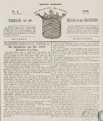 Weekblad van Den Helder en het Nieuwediep 1849-01-22