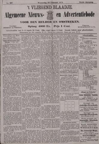 Vliegend blaadje : nieuws- en advertentiebode voor Den Helder 1875-02-10