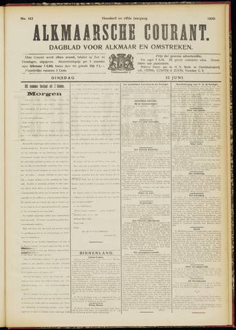Alkmaarsche Courant 1909-06-22