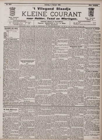 Vliegend blaadje : nieuws- en advertentiebode voor Den Helder 1902-02-08