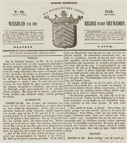Weekblad van Den Helder en het Nieuwediep 1843-06-05