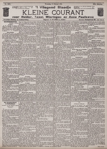 Vliegend blaadje : nieuws- en advertentiebode voor Den Helder 1914-02-18