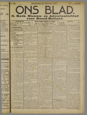 Ons Blad : katholiek nieuwsblad voor N-H 1916-02-24