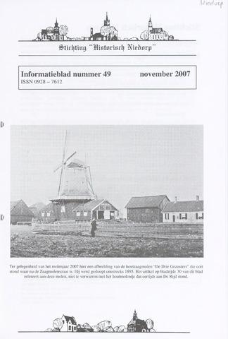 Informatieblad stichting Historisch Niedorp 2007-11-01