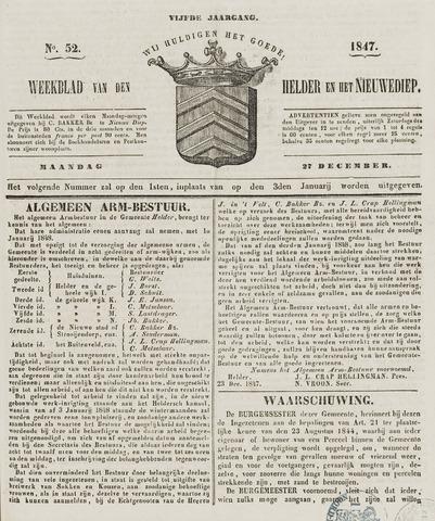 Weekblad van Den Helder en het Nieuwediep 1847-12-27