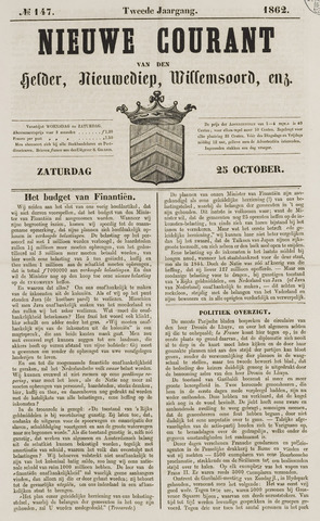 Nieuwe Courant van Den Helder 1862-10-25