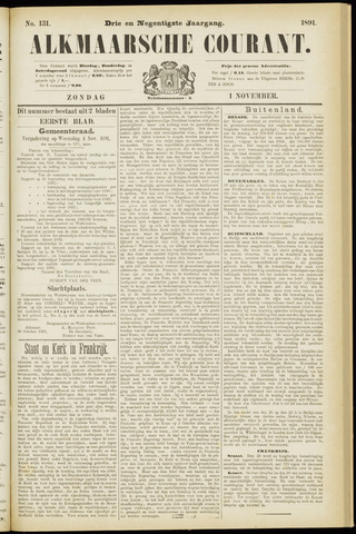 Alkmaarsche Courant 1891-11-01