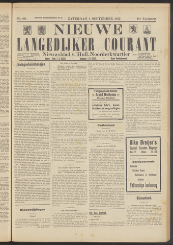 Nieuwe Langedijker Courant 1932-09-03