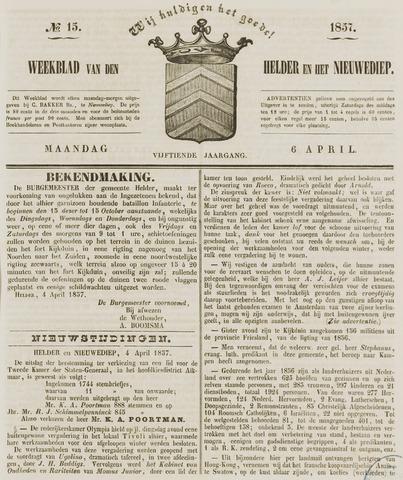 Weekblad van Den Helder en het Nieuwediep 1857-04-06