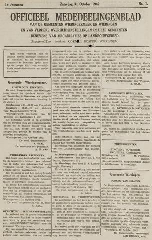 Mededeelingenblad Wieringermeer en Wieringen 1942-10-31