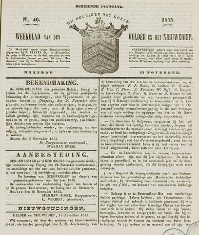 Weekblad van Den Helder en het Nieuwediep 1855-11-12