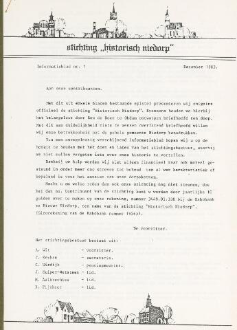 Informatieblad stichting Historisch Niedorp 1983-12-01