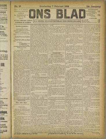 Ons Blad : katholiek nieuwsblad voor N-H 1918-02-07