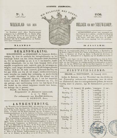 Weekblad van Den Helder en het Nieuwediep 1850-01-28