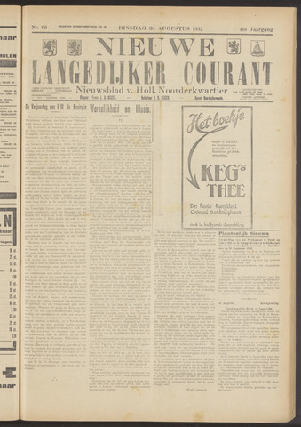 Nieuwe Langedijker Courant 1932-08-30