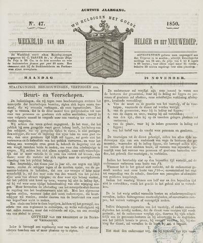 Weekblad van Den Helder en het Nieuwediep 1850-11-18