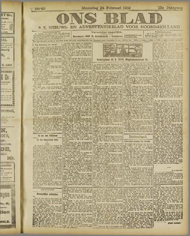 Ons Blad : katholiek nieuwsblad voor N-H 1919-02-24