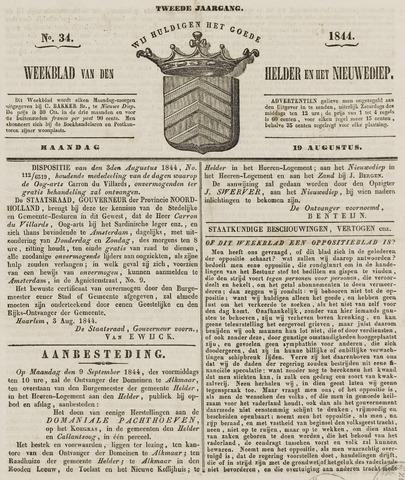 Weekblad van Den Helder en het Nieuwediep 1844-08-19