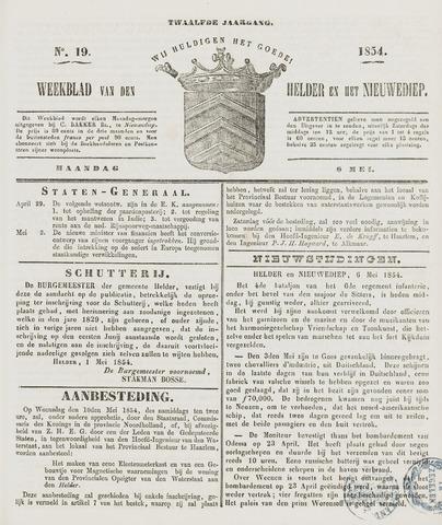 Weekblad van Den Helder en het Nieuwediep 1854-05-08