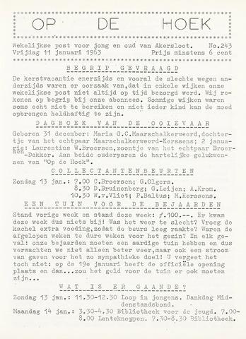 Op De Hoek, weekblad voor Akersloot 1963-01-11
