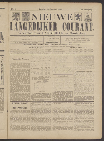 Nieuwe Langedijker Courant 1894-01-14