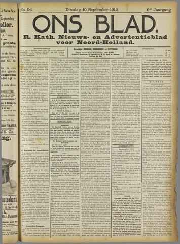Ons Blad : katholiek nieuwsblad voor N-H 1912-09-10