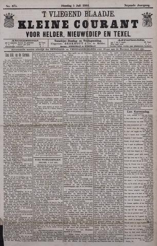 Vliegend blaadje : nieuws- en advertentiebode voor Den Helder 1881-07-05