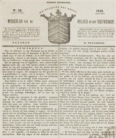 Weekblad van Den Helder en het Nieuwediep 1843-12-25