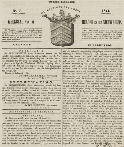 Weekblad van Den Helder en het Nieuwediep 1844-02-12