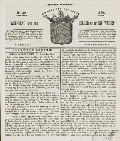 Weekblad van Den Helder en het Nieuwediep 1850-09-23