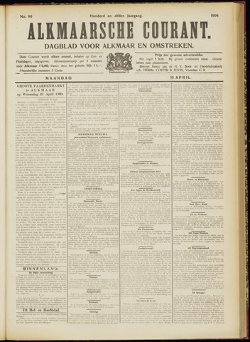 Alkmaarsche Courant 1909-04-19