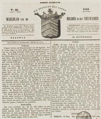 Weekblad van Den Helder en het Nieuwediep 1843-09-25