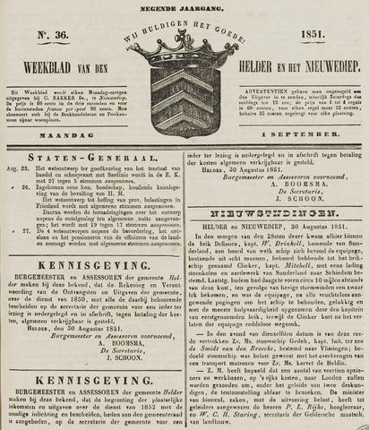 Weekblad van Den Helder en het Nieuwediep 1851-09-01