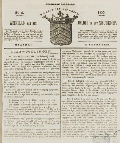 Weekblad van Den Helder en het Nieuwediep 1855-02-19