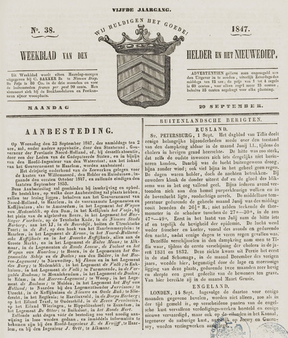 Weekblad van Den Helder en het Nieuwediep 1847-09-20