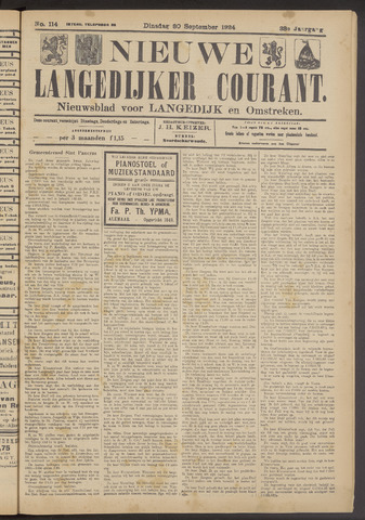 Nieuwe Langedijker Courant 1924-09-30