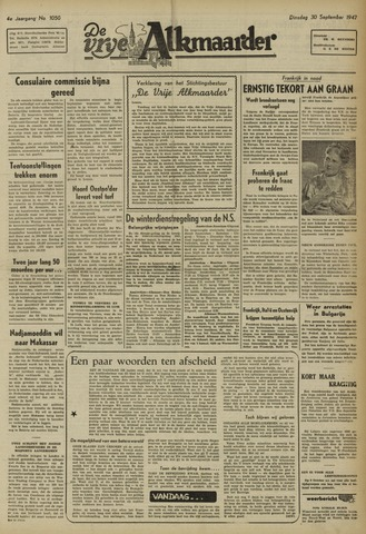De Vrije Alkmaarder 1947-09-30