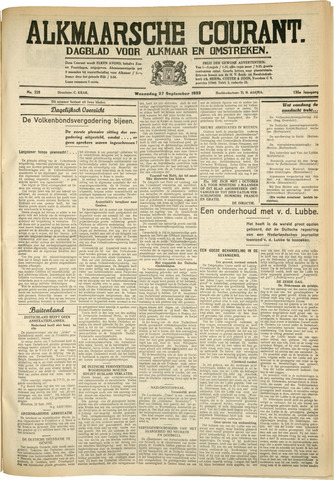 Alkmaarsche Courant 1933-09-27
