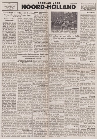 Dagblad Noord-Holland, Schager editie 1944-02-18