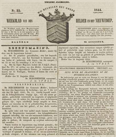 Weekblad van Den Helder en het Nieuwediep 1844-08-26