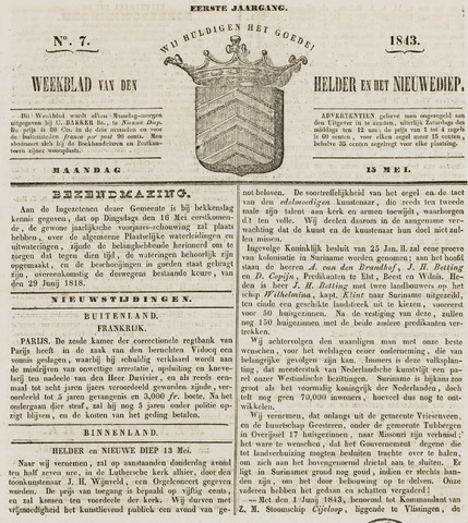 Weekblad van Den Helder en het Nieuwediep 1843-05-15